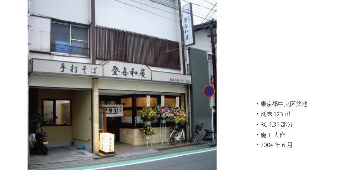 手打ちそば登喜和屋, 東京都中央区築地, 延床 123㎡, RC造/地上1階及び3階部分, 施工 大作, 平成16(2004)年6月